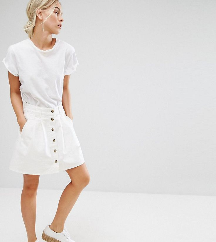 ASOS PETITE Denim Button Through Skater Skirt in White - White