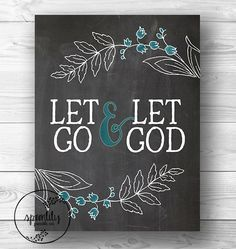 Bible Verse Art print, printable Let Go Let God wall art decor, INSTANT DOWNLOAD chalkboard bible verses for the wall