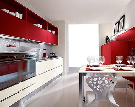 red and beige kitchen furniture