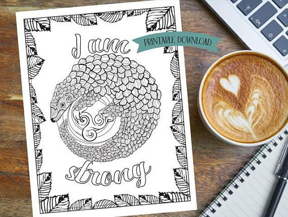 Coloring Page - I am statements - Pangolin - Family and Strength // INSTANT DOWNLOAD // Manifestation and Meditation Colouring Page