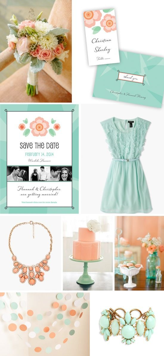 """Mint  Coral Wedding Theme. Mint  Coral Wedding Stationary is from the """"Sweet Romance"""" Collection designed by Lauren DiColli Hooke for LookLoveS --- The photos of Mint  Coral Wedding ideas are pinned to my """"Mint  Coral Wedding"""" board if you want the #Wedding Photos
