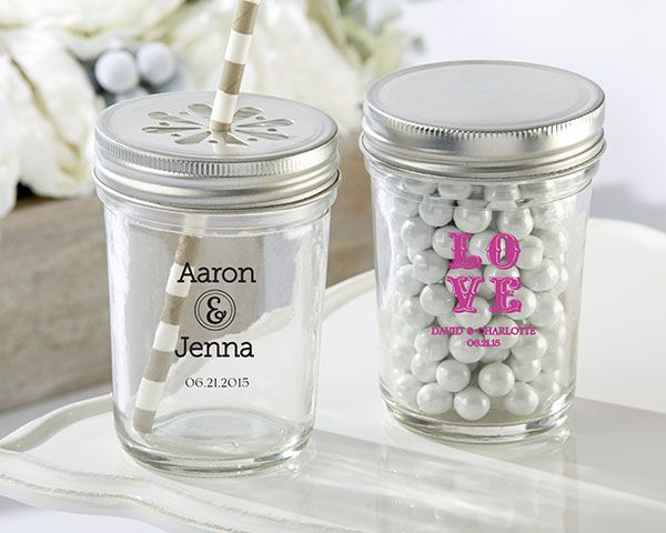 Even says JENNA!!!  Personalized Printed Glass Mason Jar - Wedding - Mason Jar Favors by Kate Aspen