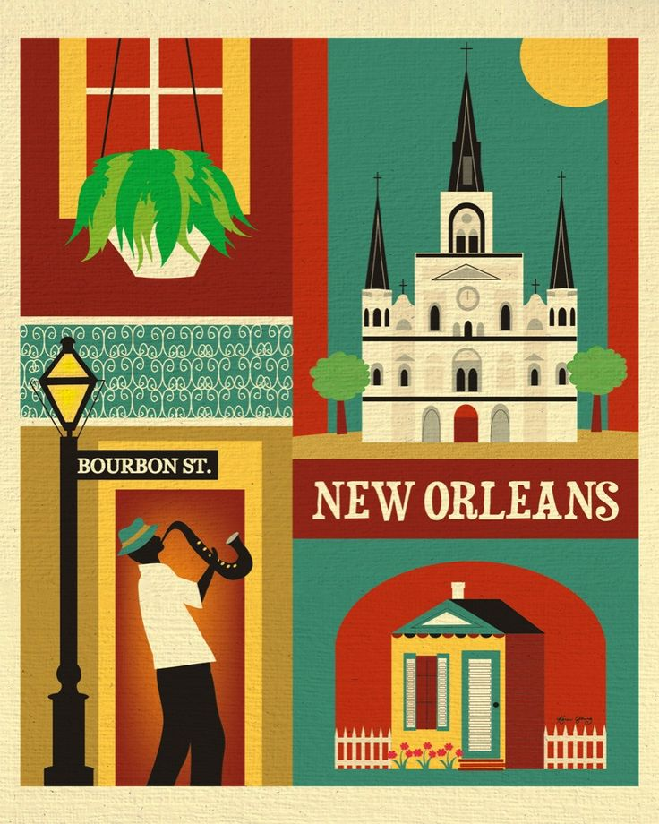 New Orleans, Louisiana wall art is available in an array of finishes, materials, and sizes, this retro inspired wall art will make New Orleans feel close to your heart with its bright color palette an