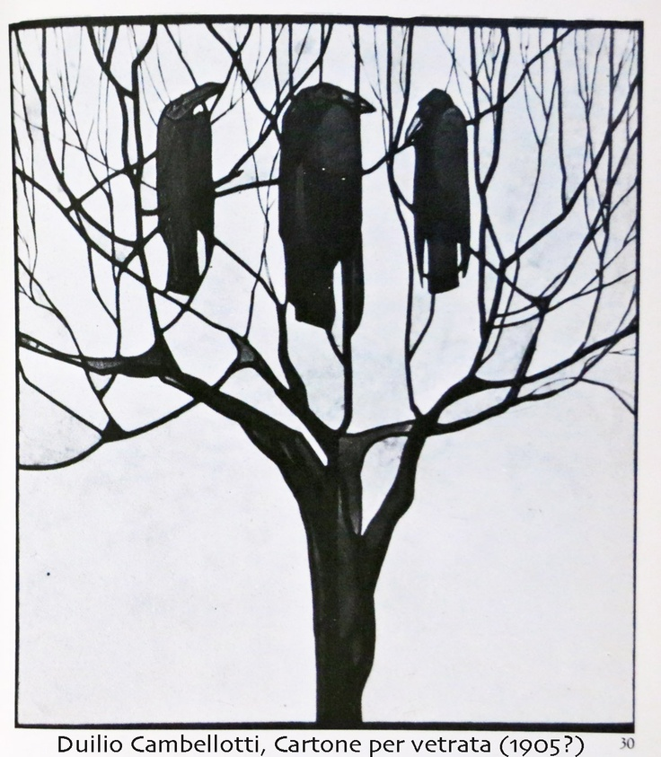 Duilio Cambellotti, study for glass artwork (1905?)  Three crows over a stripped bare tree