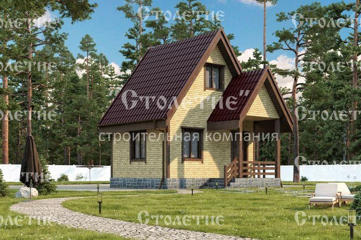 Проект дома ДБ-09 размером 4 на 5 метра в цветом решении Кирпич