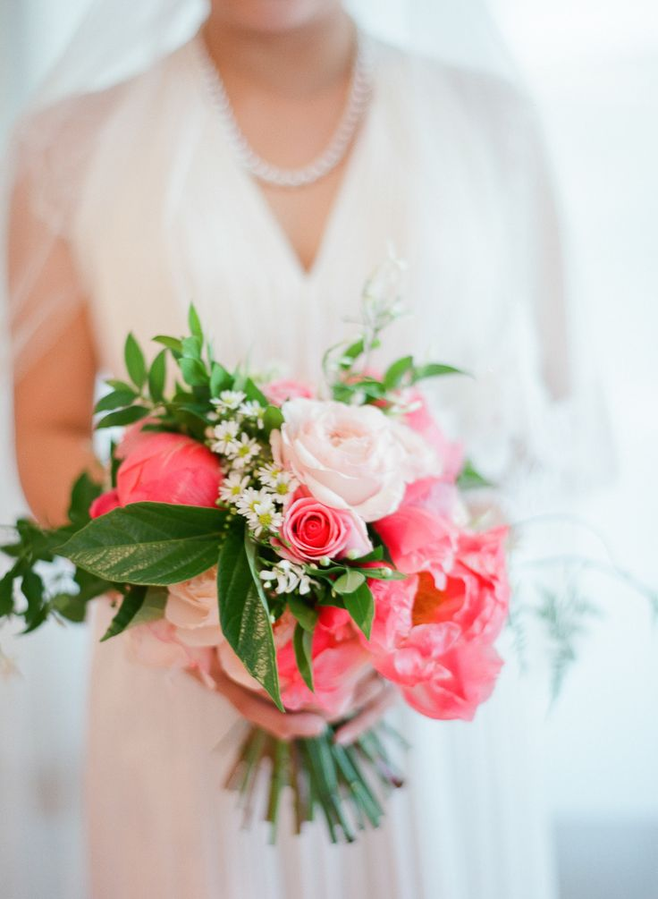 Coral Peony & Pink Rose Bouquet -- On http://www.StyleMePretty.com/australia-weddings/2014/04/01/peony-filled-wedding-in-perth/ AnggaPermanaPhoto.com