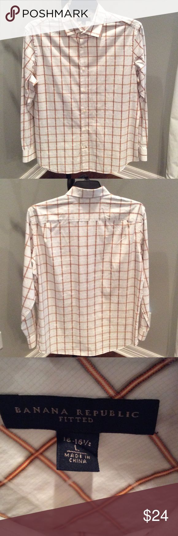 Banana Republic mens shirt Men's 100% cotton shirt.  White with orange, black and gray pattern.  EUC!  Sleeve length 24.75 in.  Back length 31 in. Banana Republic Shirts Casual Button Down Shirts