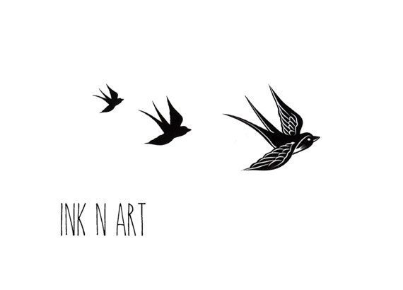 Awesome Black Three Flying Birds Tattoo Design