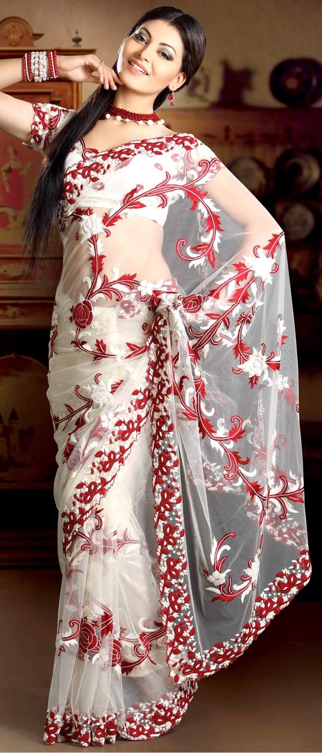 Off White Net #Saree With #Blouse | $741.77 | Shop Here: http://www.utsavfashion.com/store/sarees-large.aspx?icode=skk13443