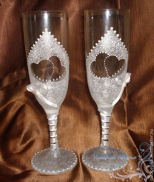 """Купить Свадебные бокалы """"сердца"""" - свадебные бокалы, бокалы для свадьбы, бокалы для молодоженов, бокалы для шампанского"""