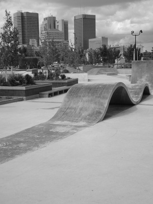 Nice black and white shot of the Plaza at The Forks in Winnipeg, MB.