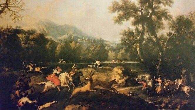 FRANCESCO ZUCCARELLI ( Pitigliano 1702 - Firenze 1778 ). CACCIA AL CERVO. oil on canvas. 96 × 130 cm. Provenance : donazione Mossi di Morano.