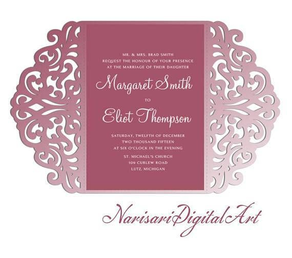 5x7 Gate-fold Wedding Invitation laser cut  Card Template SVG