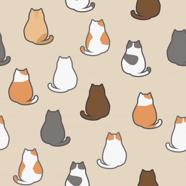 Cute Adorable Funny Cat Sitting Back Animals Cartoon Seamless Pattern Wallpaper Background Cat Pattern Wallpaper Cute Animal Drawings Cat Background