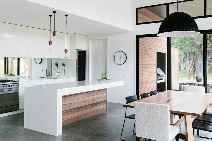 Minimalist kitchen - white, grey, black, and natural wood tones. Gorgeous, with a Scandinavian feel.