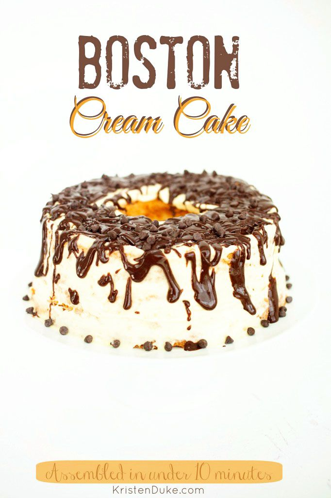 Boston Cream Cake - 10 minute assembly dessert using a store bought angle food cake!