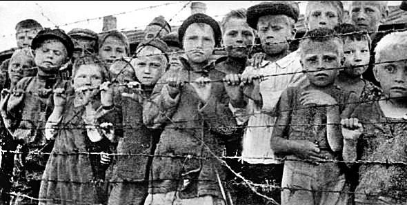 Children in a concentration camp Majdanek. Poland