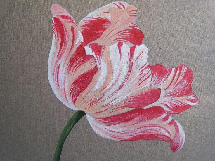 Tulipe grans modèle (50x50) - Photo de peintures sur toile de lin - reflets argent