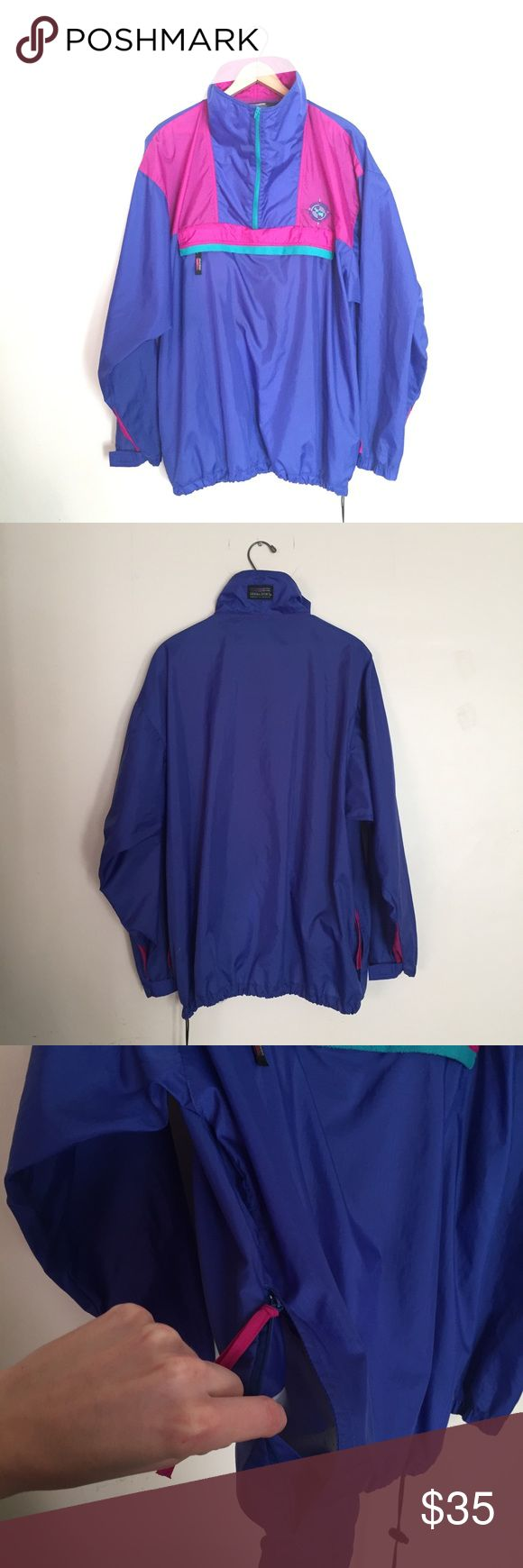 Vintage 90s Retro Windbreaker Awesome coat! Pullover. Huge kangaroo zipper pocket, and huge side pockets. Perfect for camping, hiking, and festivals. Lightweight easily packable. Unisex. Size large! Vintage Jackets & Coats