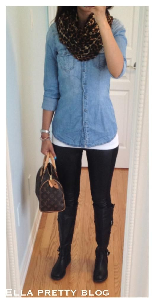 Scarf: Express, Chambray Shirt: Garage, Leather Panel Leggings: H&M, Boots: Old Navy, Bag: LV Speedy 25