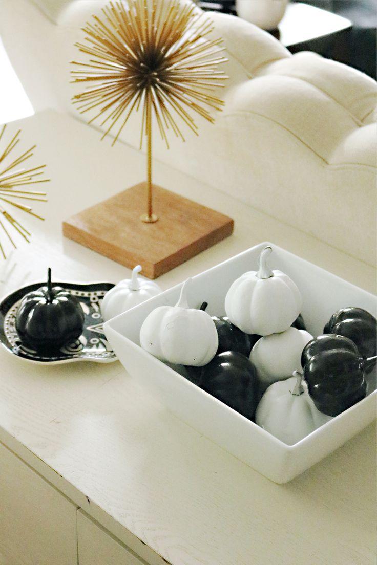 modern halloween decorations black and white pumpkins