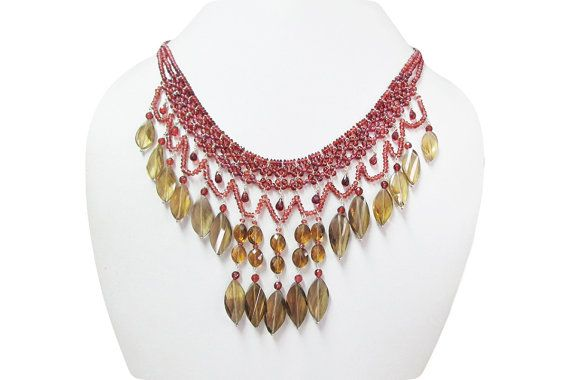 Designer necklace made from Whiskey Quartz & Garnet by anushruti