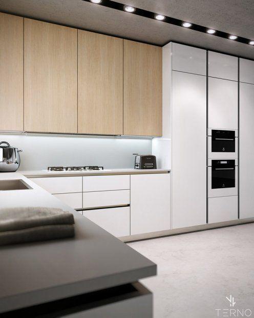 Дизайн кухни под потолок без ручек. Светлое дерево в комбинации с белыми фасадам.