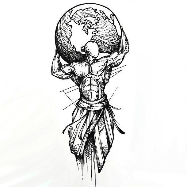 Die beste Tattoo-Idee im Skizzenstil. Ein Mann, der die ganze Erde auf seiner Schulter hält