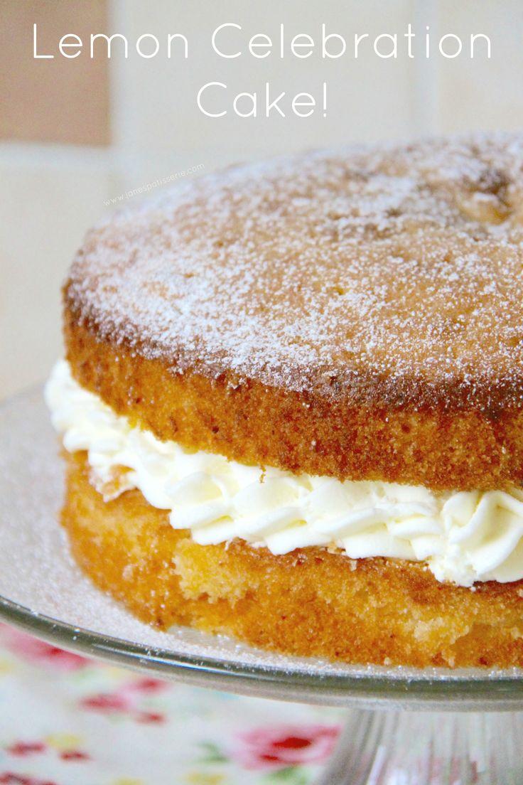 Lemon Celebration Cake! A moist & Lemony Sponge filled with a dash of Lemon Curd, and a Luscious Lemon Buttercream!