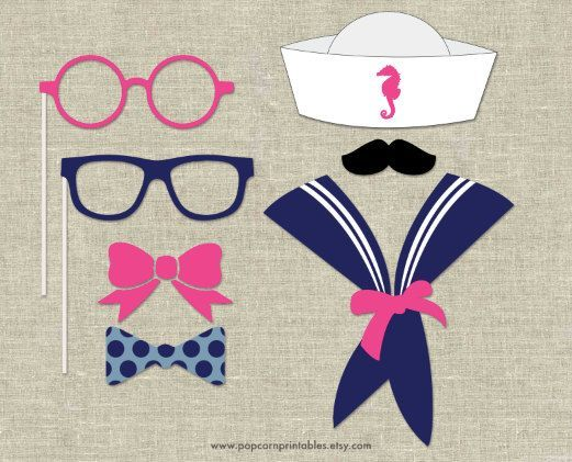 nautical photo booth props | Nautical Photo Booth Props DIY Instant by PopcornPrintables