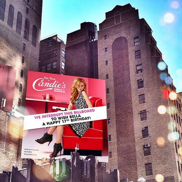 Photos: Candie's Put Up A Nice Billboard Of Bella Thorne In New York City To Celebrate Her Birthday October 8, 2014
