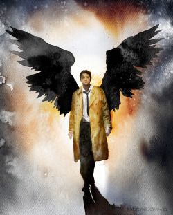 Dark version of Castiel. Watercolours on paper.