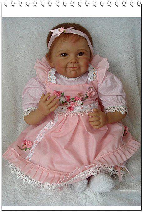 Nicery Rinato Bambino Bambola Vinyl molle del silicone 22 pollici 55cm Bocca magnetica Realistico Ragazzo Ragazza Bambina Giocattolo Fiore vestito rosa