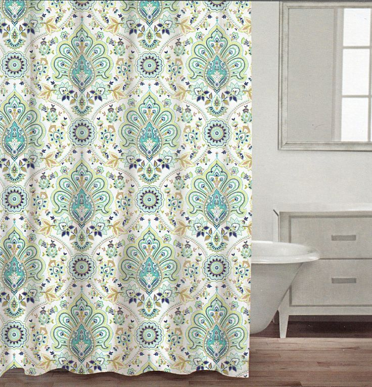 Amazon.com - Caro Home 100% Cotton Shower Curtain Floral Paisley Medallions Fabric Shower Curtain White Turquoise Green Navy Blue Beige Damask Design -
