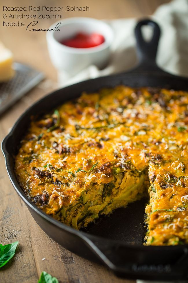Spiralized Roasted Red Pepper, Spinach and Artichoke Zucchini Noodle Casserole - This zucchini casserole is packed with protein and is a low carb and gluten free breakfast or dinner that is under 150 calories and 3 SmartPoints! | http://Foodfaithfitness.com | /FoodFaithFit/