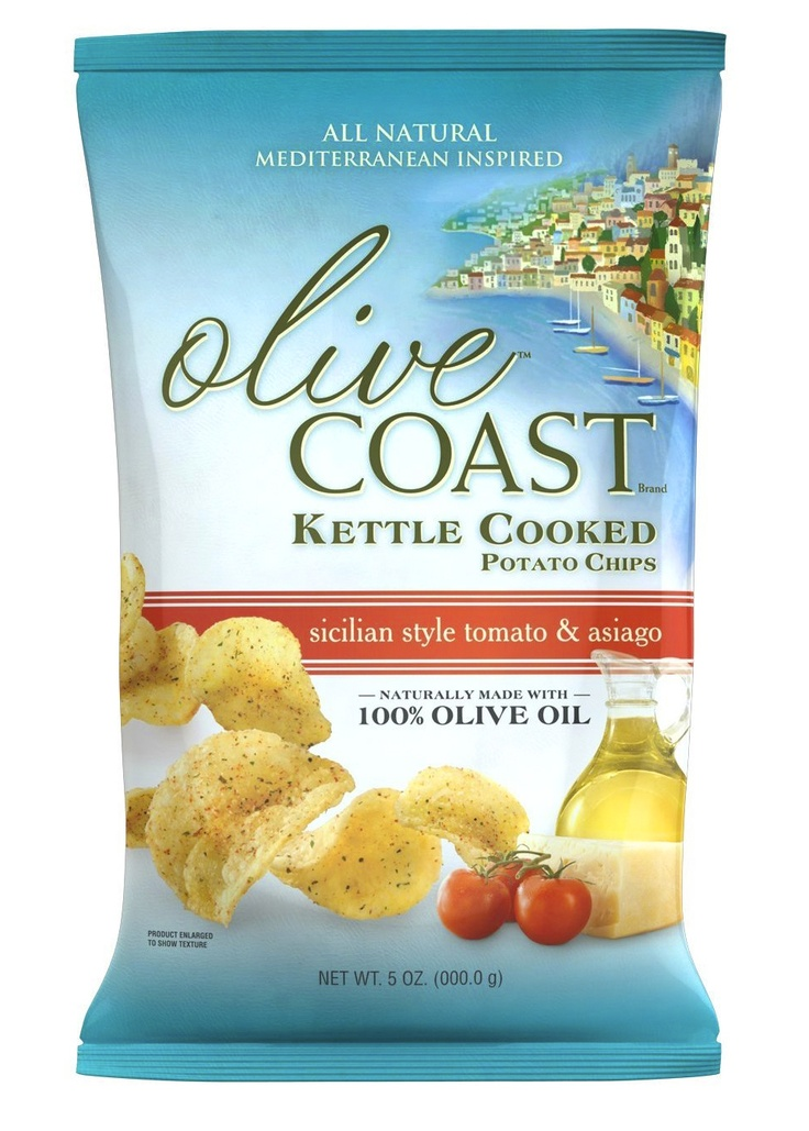 Olive Coast Chips package with art.