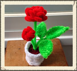 Pipe Cleaner Rose Pot, pipe cleaner crafts