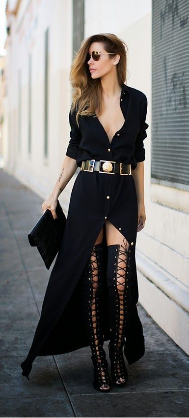 Black Open Front Bottons Conserivative Dress   Sexy Lace High Boots / LoLus Street Fashion