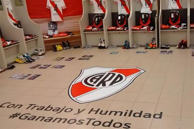 Así decoró River el vestuario visitante de la Bombonera para motivar a los jugadores  Así quedó el vestuario visitante de la Bombonera.         Foto:Prensa River Plate