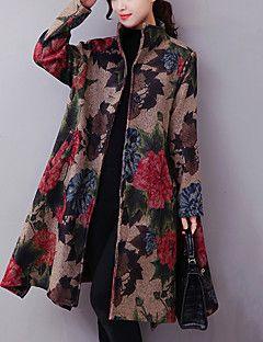 Feminino Casaco Casual Moda de Rua / Temática Asiática Outono / Inverno,Estampado Azul / Bege Algodão Colarinho Chinês-Manga Longa Grossa