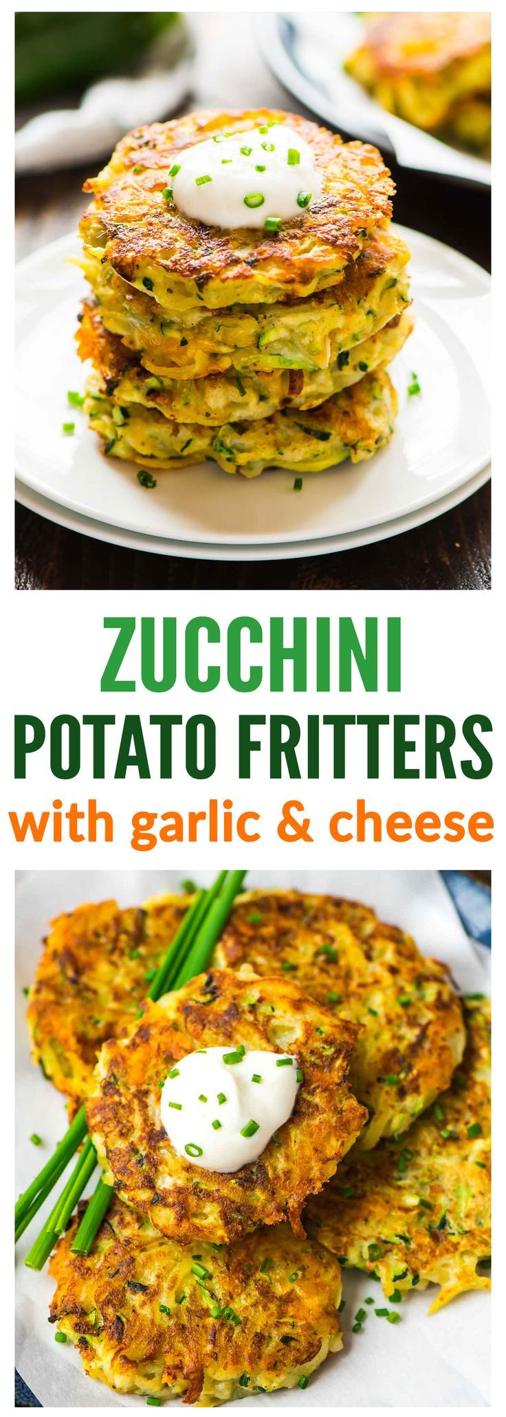 Cheesy Zucchini Potato Fritters. Picky eaters love these! Get kids to eat their veggies with this fast, easy recipe. Crispy on the outside, tender on the inside, with lots of cheese! Recipe at http://wellplated.com | /wellplated/