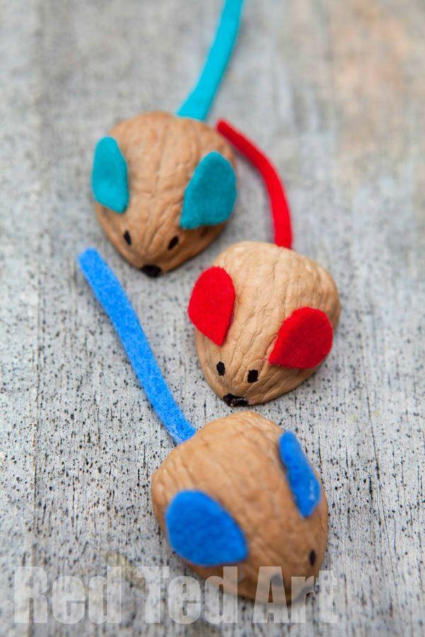 Manualidades para niños con nueces: ratones                                                                                                                                                                                 Más