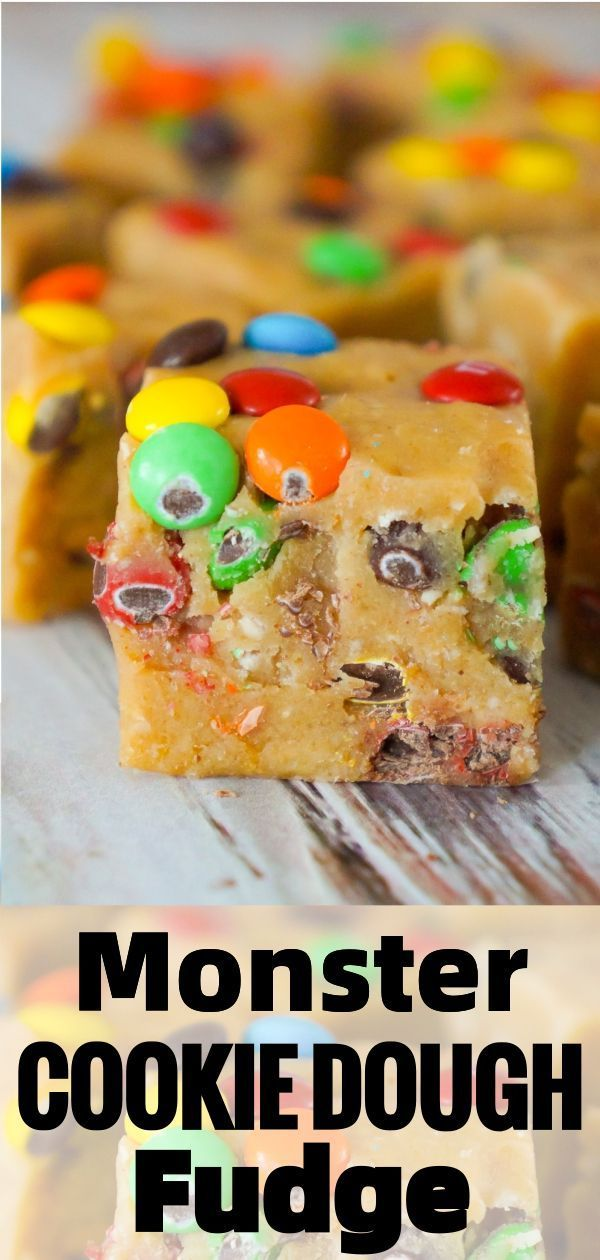Monster Cookie Dough Fudge In 2020 Cookie Dough Fudge Monster Cookie Dough Microwave Fudge