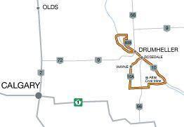Road Trips in Alberta   DRUMHELLER VALLEY TOUR Distance: approx. 170 km (106 mi)