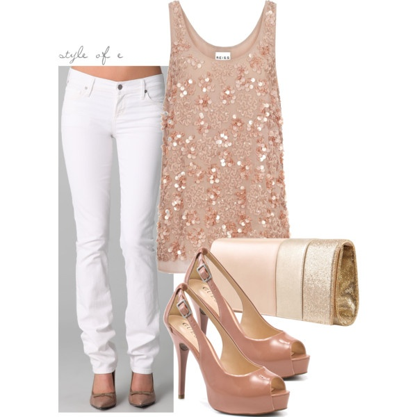love white jeans !: Cute Tops, Jeans Blouses, White Pants, Date Nights, Sequins Tops, White Jeans, Cute Date Outfits, Clothing Fashion, Blushes Pink Outfits