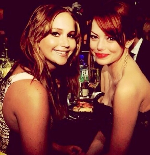 Photo of Emma Stone  & her friend Jennifer Lawrence