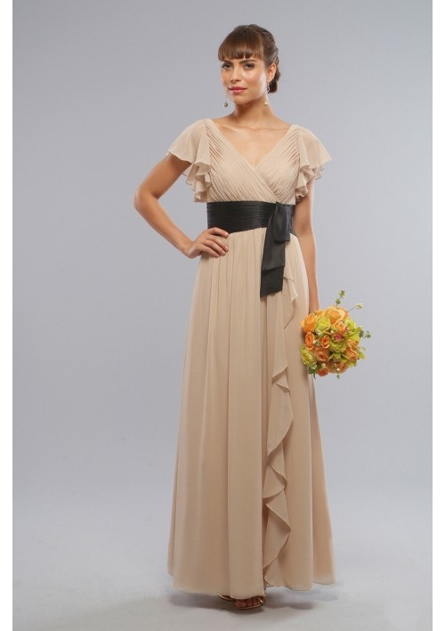 Elegant fashion design Chiffon, Charmeuse V-Neck wrap bridesmaid dress