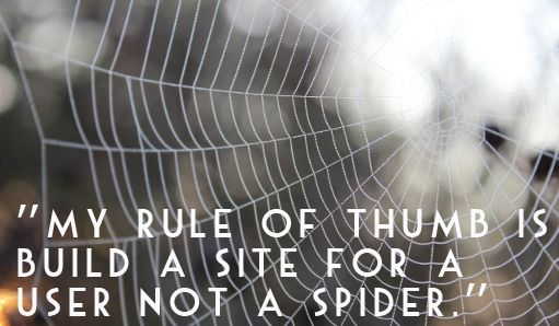 """""""My rule of thumb is build a site for a user not a spider."""" - Adio Brand Solutions"""