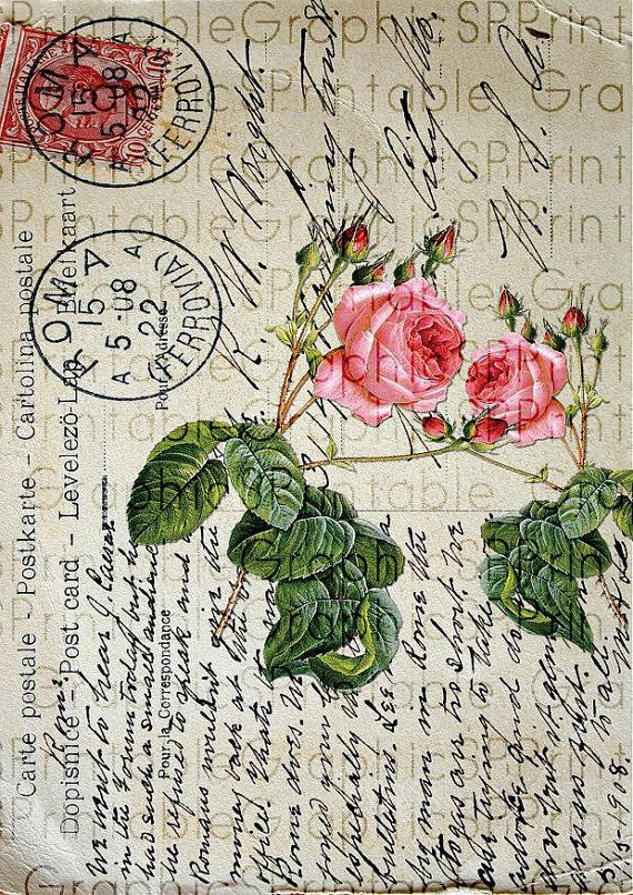 Postal rosas vintage french frances imprimible.