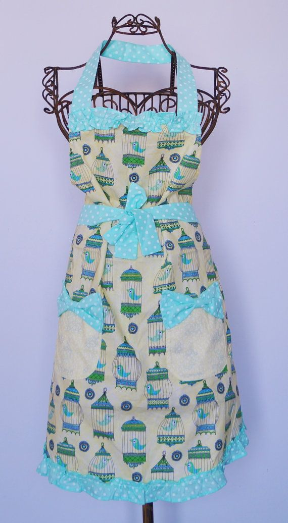 Vintage Birdcage Apron with polka dot detail and frills by Eldebez